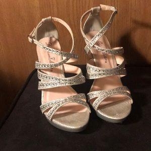 Le Blossom Collection Silver Rhinestone Heels